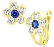 Damen-Ohrringe 9 Karat 375 Gelbgold Rundschliff Oxyde de Zirconium blau E1607YB