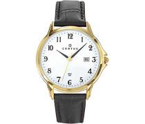 –612343–Armbanduhr–Quarz Analog–Weißes Ziffernblatt–Armband Leder Schwarz