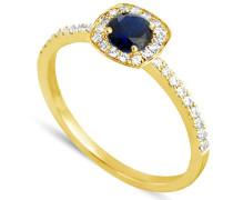 Damen-Ring 18 Karat (750) Gelbgold Saphir-badm 07106-0001