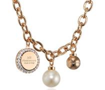 Damen-Kette mit Anhänger Hollywood Vergoldet teilvergoldet Zirkonia weiß Synthetische Perle Weiß 38.0 cm - BHOKOO01