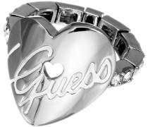 Damen-Ring Edelstahl rhodiniert Kristall Zirkonia Heart weiß