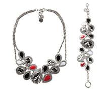 Damen-Schmuckset Halskette + Armband Edit Versilbert - 67G55J92000U
