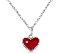 Kinder-Anhnger 925 Sterling-Silber Herz emaille rot Zirkonia mit Kette 36-40cm MSM109PK
