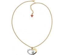 Damen-Halsband Edelstahl Kristall weiß UBN11481