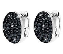 Damen-Creolen 925 Sterling Silber Swarovski Kristall schwarz Brillantschliff 3201264