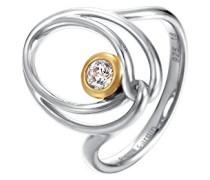 Damen-Ring 925 Sterling Silber rhodiniert Glas Zirkonia Arabesque Lumière weiß