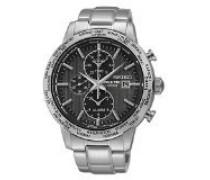 Seiko-spl049p1-Armbanduhr-Quarz Chronograph-Zifferblatt schwarz Armband Stahl Grau