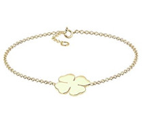 Premium Damen-Armband Kleeblatt 375 Gelbgold 925 Silber 18 cm - 0209680214_18
