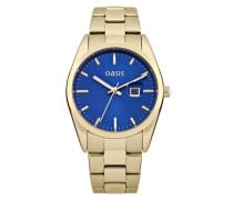 Oasis Damen Quarzuhr mit Blau Zifferblatt Analog Display und Gold Andere Armband b1368