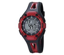Unisex Armbanduhr Digitaluhr mit LCD Zifferblatt Digital Display und schwarz Kunststoff Gurt k5666/4