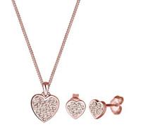 Damen-Schmuckset Halskette + Ohrringe Herz Liebe 925 Silber Swarovski Kristall gold Brillantschliff - 0911391115_45