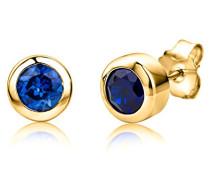 Damen-Ohrstecker 925 Sterling- Silber Rundschliff Blau Synthetischer Saphir