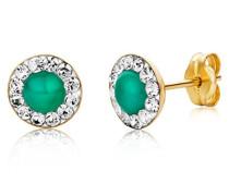 Damen-Ohrstecker 9 Karat (375) Gelbgold Emerald und Swarovski Element