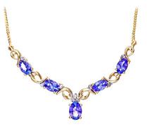 Damen Halskette 9 Karat (375) Gelbgold Tansanit Diamant Klassische Halskette mit