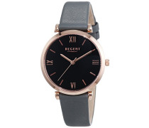 Regent Damen-Armbanduhr XS Analog Quarz Leder 12100596