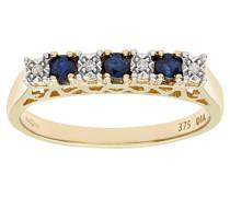 Damen-Ring 9 K Gelbgold Diamant Saphir
