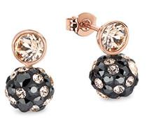 Damen-Ohrstecker Kugeln rosévergoldet veredelt mit Swarovski Kristallen, 15 mm