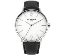 Herren Armbanduhr mit weißem Zifferblatt Analog-Anzeige und zwei Ton Lederband wb059bu