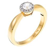 Damen-Ring 925 Sterling Silber rhodiniert Glas Zirkonia Lumière weiß