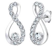 Infinity Damen Ohrstecker Unendlichkeit 925 Sterling Silber Swarovski Kristall Brillantschliff weiß 0308811414