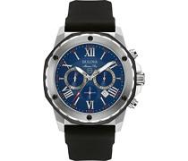 Marine Star 98B258 - Herren Designer-Armbanduhr - Chronograph mit Gummiarmband - wasserdicht - blaues Zifferblatt