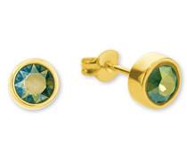 Damen-Ohrstecker Messing teilvergoldet Kristall grün Rundschliff-9347261