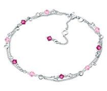 Elli Damen-Gliederarmband Kristall 925 Sterling Silber Swarovski Kristall rosa Perlenschliff 0208660612_18