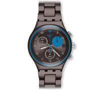 Swatch Unisex Armbanduhren Blauerfleck Analog Quarz Edelstahl YCM4003AG