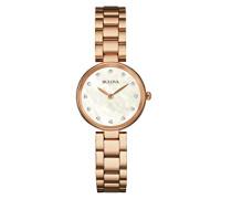 Bulova Diamant Damen Quarzuhr mit Mutter von Pearl Zifferblatt Analog-Anzeige und Rose Gold Armband 97s111