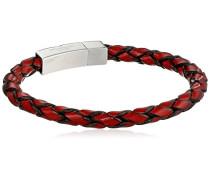 Armband Italienisches Leder mit roten und Verschluss aus Sterling-Silber 925