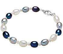 Classic Collection Damen-Armband Hochwertige Süßwasser-Zuchtperlen in ca.  4-6 mm Oval weiß / hellgrau / pfauenblau 925 Sterling Silber    19 cm   474521