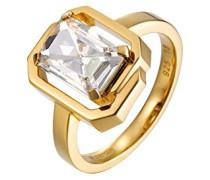 Damen-Ring 925 Sterling Silber rhodiniert Glas Zirkonia Néoclassicisme weiß