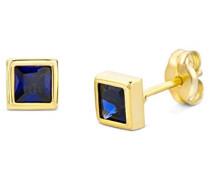 Damen-Ohrstecker 375 Gelbgold Saphir blau Quadratschliff