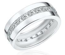 Damen-Ring 925 Sterling Silber Zirkonia weiß - Moderner Silberring in Memoire-Form mit Steinen 60800108