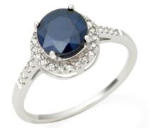 Damen-Ring 375 Weißgold runde Saphir Brillanten