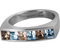 Jacques Lemans Ring besetzt mit funkelnde Swarovski Kristallen massiv Edelstahl Ringgröße 54 S-R46G54