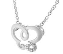 Damen-Anhänger mit Kette 925 Silber rhodiniert Zirkonia weiß Brillantschliff - ZH-7088