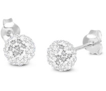 Damen Ohrringe Klassik 925 Sterling Silber Swarovski Kristallen Silver