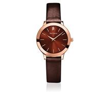 023K944–Wochenende Linie Pure Damen-Armbanduhr 045J699Analog braun Armband Stahl vergoldet braun