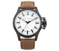 French Connection Herren Quarz-Uhr mit weißem Zifferblatt Analog-Anzeige und Bronze Lederband fc1240twa