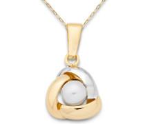 Damen-Halskette 9 Karat 375 Gelbgold knot Perle weiß MA9024N