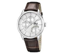 Herren Quarz-Uhr mit weißem Zifferblatt Analog-Anzeige und braunem Lederband 15974/1