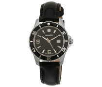 Damen-Armbanduhr sport elegance Analog Leder schwarz 70365