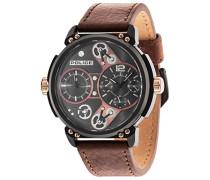Police Herren Steampunk Quarz-Uhr mit Braun Zifferblatt Analog-Anzeige und braunem Lederband 14693jsb/12A