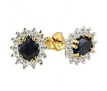 Goldmaid Damen-Ohrstecker 585 Gelbgold 2 Safir blau 28 Diamanten