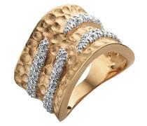 Damen-Ring Silber vergoldet teilvergoldet Zirkonia weiß Brillantschliff 52 (16.6) - R-4205-ROSE/52
