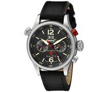 Unisex Automatik Uhr mit schwarzem Zifferblatt Analog-Anzeige und schwarz Lederband in3225bk