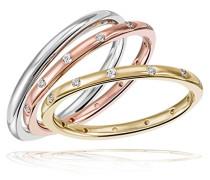 Ringe zum Jahrestag Damenringset 3 Ringe Tricolor  925 Sterlingsilber 24 Zirkonia
