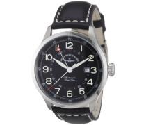 Herren-Armbanduhr XL Retro Tre Analog Automatik Leder 6302GMT-a1