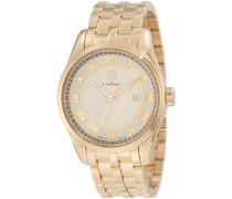 s. COIFMAN Herren Armbanduhr Quarz mit Gold Zifferblatt Analog-Anzeige und Gold Edelstahl vergoldet Armband SC0101